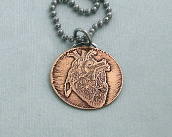 Anatomical Heart Necklace - Etched Brass Disc on Stainless Steel Chain - Valentine's Day - Engagement - Wedding
