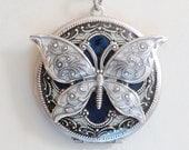 Butterfly Silver Locket,Jewelry Gift,Pendant,Blue Locket,filigree locket necklace,photo locket ,Wedding Necklace,bridesmaid necklace