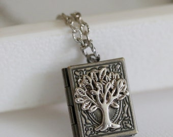 Tree of life Locket,Jewelry,Necklace,Pendant,Silver Locket, Antique Locket, Book Locket,Tree,Wedding Necklace,bridesmaid necklace