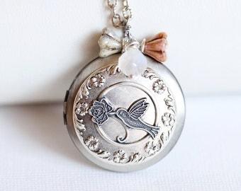 Hummingbird Locket, Jewelry Gift, Silver Locket, Locket,Photo Locket,Flower and Hummingbird Silver Bridesmaid Necklace,Wedding Necklace