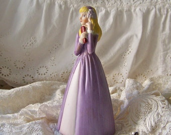 Vintage Porcelain Bell Lavender Bell Vanity Girls Dresser Golden Hair Girls Room Young Lady Sweet Sixteen Vintage 1980s