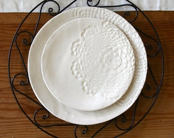 White lace ceramic salad plate