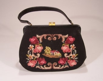 Black Leather, Needlepoint and Petit Point Handbag - Excellent Condition