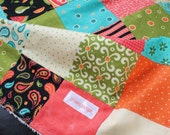 ON CLEARANCE  Bright Aqua and Coral Minky Baby Quilt
