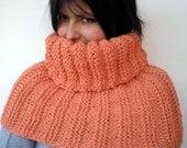 Tangerin Orange   Rib Chunky Big Cowl Hand Knit Circle Neckwarmer Scarf  Soft   Alpaca Fall Winter Cowl