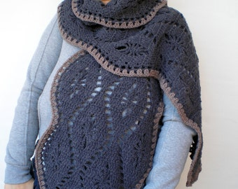 Dark Grey Weavw Scarf Hand Crocheted Scarf Woman  Fall Fashion  Scarf NEW