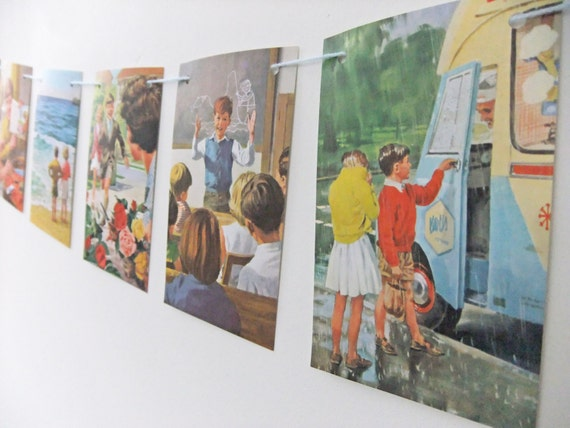 Bunting upcycled from Fun and Games, vintage Ladybird Book - recycled garland - eco-friendly banner