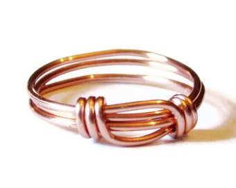 Copper Ring , Wire Wrapped Copper Stacking Rings - Now Available In Silver