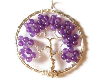 Purple Tree of Life Pendant - Boho Jewelry - Wire Wrapped Gemstone Tree Pendant - Tree Jewelry