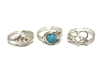 Silver and Turquoise Jewelry Set - Heart Ring - Turquoise Ring - Rosette Ring - Silver Rings