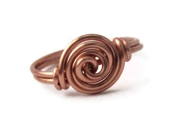 Copper Rosette Wire Wrapped Ring Custom Size Jewelry