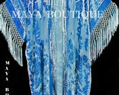 Sky Blue Silk Burnout Velvet Fringe Jacket Kimono Duster Maya Matazaro Plus