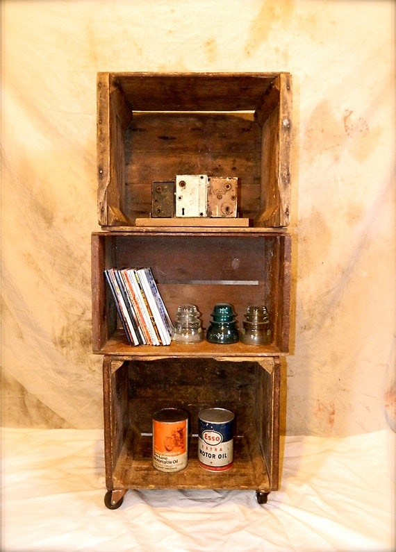 rustic upcycled wooden crate bookcase wheels repurposed. Black Bedroom Furniture Sets. Home Design Ideas