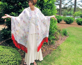 White Summer Shawl with Chikan Work Embroidery with Silk Fringed Tassels by the Old Silk Route