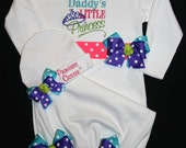 "Personalized ""DADDY'S LITTLE PRINCESS"" ...Custom 2Pc. Newborn Layette Set For Homecoming Or Baby Gift"