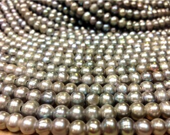 7 mm Grey Pearl Large Hole Freshwater Pearl Potato Beads - Gray 2.1 mm hole (G2452G48Q5)