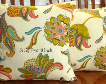 Home Decor, Throw Pillows,Decorative Pillows, Accent Pillows, Pillow Covers - Set of Two 18 Inch - Paisley Cream