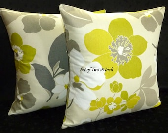 Decorative Pillows, Accent Pillows, Pillow Covers, Home Decor, 18 Inch Pillows - Set of Two 18 Inch - Graphite