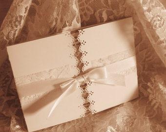 Lace Gatefold Wedding Invitations, French Market Elegant, Shabby Chic, Vintage Inspired, Haute Couture Invitations