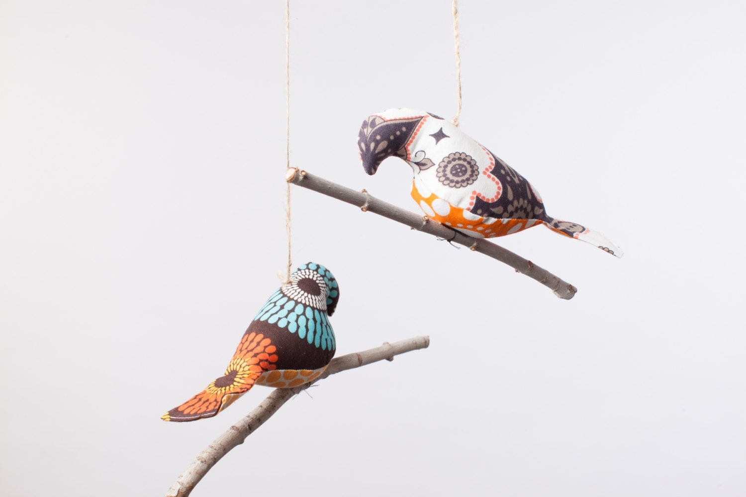 Bird on a Twig in Brown and Orange Prints ~ Home Decor ~ Woodland Theme Decor