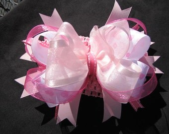 Pink Boutique Hair Bow with Pink  Crochet Headband