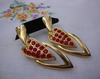 1950's Vintage Gold Tone Metal Earrings Heart Shaped with Red Rhinestones Retro Jewelry Valentine's Day Gift Romantic Gift for Her