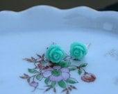 Mint Green Cabochon Rose Flower Stud Earrings