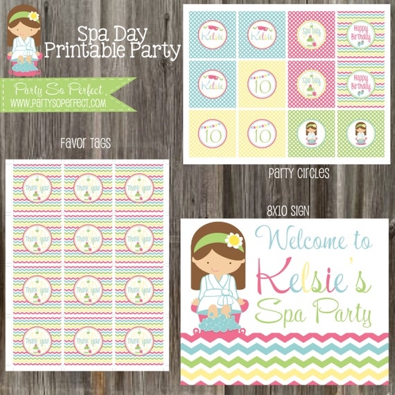 Spa Day Birthday Party Package Girl DIY Printable
