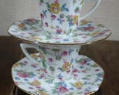 vintage cup and saucer, coffee, tea, french vintage, flowers, porcelain