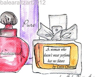 CHRISTMASINJULY2015-Print of Watercolour Fashion Illustration.- Perfume bottles 5x7 with Coco Chanel quote