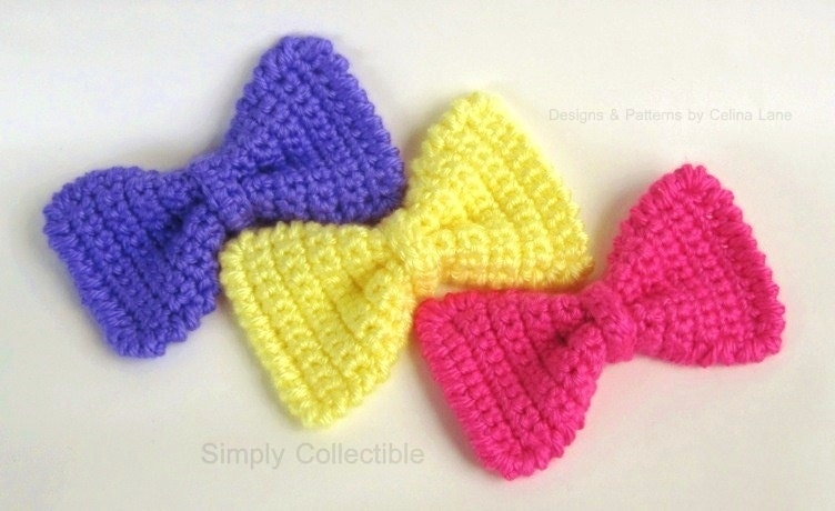 Crochet pattern bow tie for headband dog cat by simplycollectible