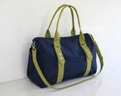 CHRISTMAS SALE - Duffel Bag / Diaper Bag in Navy blue & Pear Green Water-resistant Nylon / Gym / Tote / Messenger / Shoulder bag