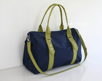 Clearance SALE - Duffel Bag / Diaper Bag in Navy blue & Pear Green Water-resistant Nylon / Gym / Tote / Messenger / Shoulder bag