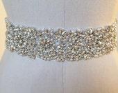 Bridal beaded glam crystal & pearl sash.  Luxury rhinestone wedding belt. COUNTESS