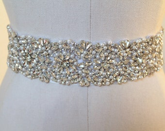 Bridal beaded glam crystal & pearl sash.  Luxury rhinestone wedding belt. COUNTESS