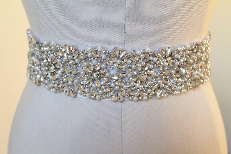 Bridal beaded glam crystal & pearl sash Luxury rhinestone