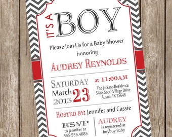 Chevron It's a boy baby shower invitation, red, grey, printable invitation