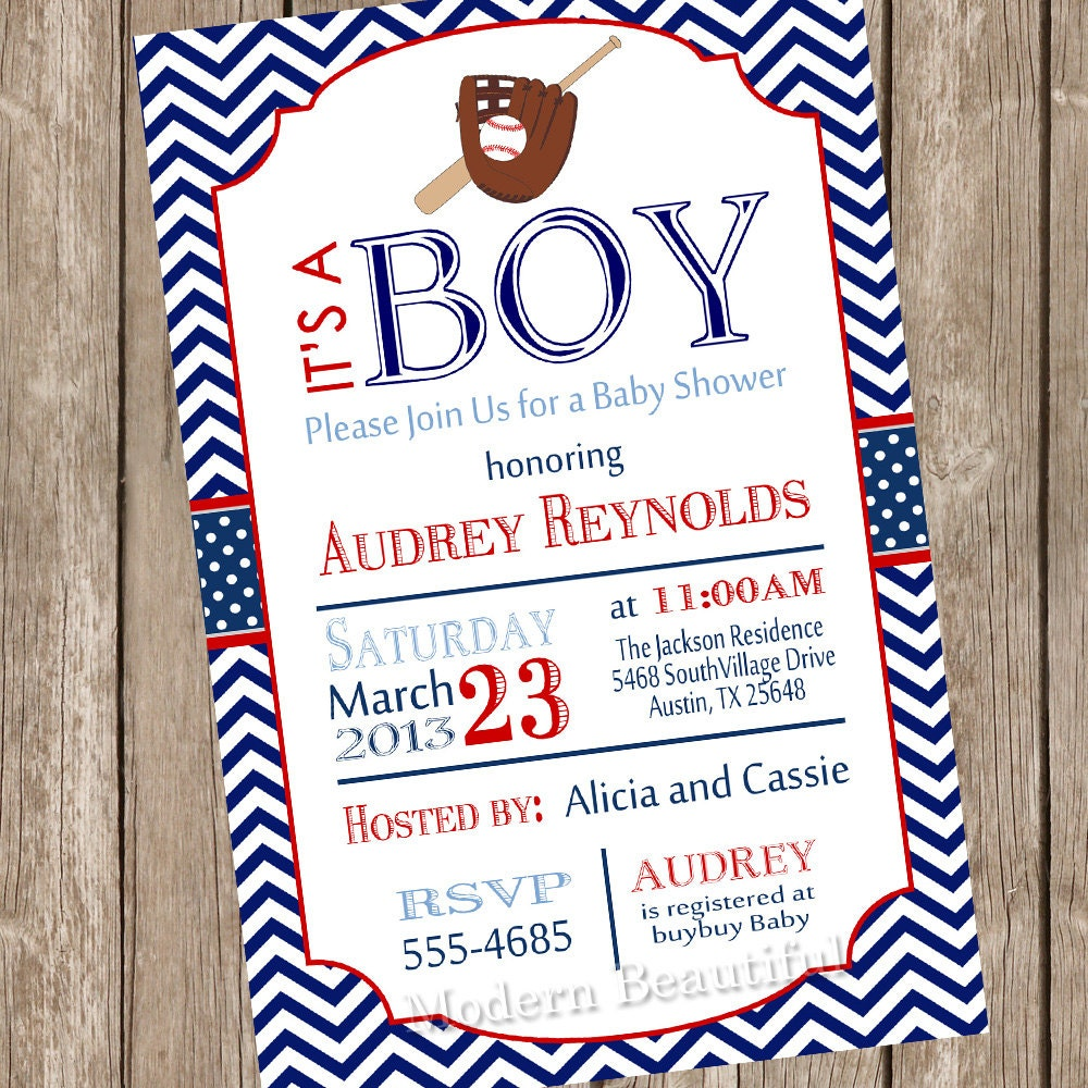 chevron baseball baby shower invitation red blue baseball
