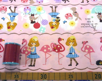 Alice in wonderland fabric pink one yard