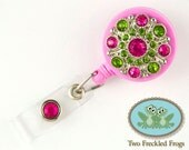 ID Badge Reel - Bling Button in Pink/Lime - Nurse, RN, Professional Gifts - Badge Holder