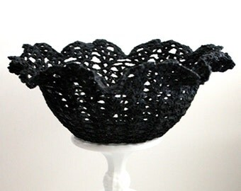 Black Crocheted Ruffle Edge Lacy Bowl Shabby Chic Cottage Chic