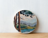 Paint by Number Circle Art Block 'Mountain View' - woodland, landscape, vintage art