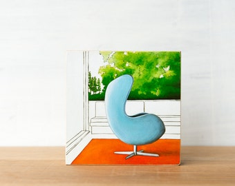 Egg Chair Art Block, SALE, Midcentury Modern, retro chair art, Arne Jacobsen, egg chair wall art, vintage chair art