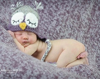 Purple and Grey Gray Crochet Owl Earflap Hat with Big Eyes