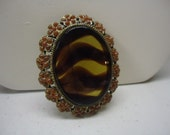 Vintage Brooch Amber Glass Flower Brooch Pin Costume Jewelry