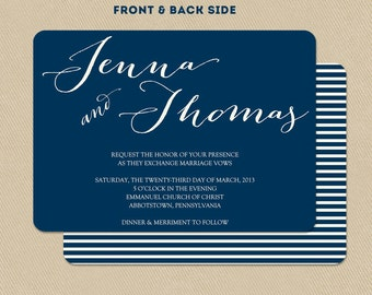 Printable Wedding Invitation Double Sided 5x7 Nautical Navy Blue and White