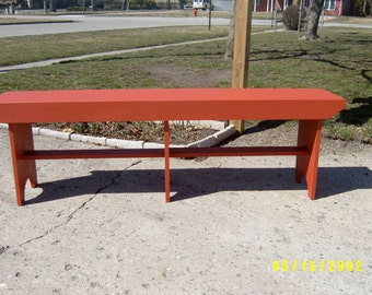 wooden bench 5' country style with shaker legs recycled salvaged