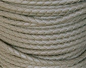 6 mm Putty Round Braided Bolo Faux Leather Cord, QUANTITY DISCOUNTS; 2yds, 4yds, 6yds