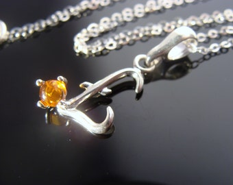 Natural Baltic Amber 925 Sterling Silver L Pendant Necklace