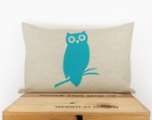 Owl pillow case | Decorative pillow for couch | Fresh decor | Owl cushion cover in turquoise and natural beige | 12x18 lumbar pillow cover